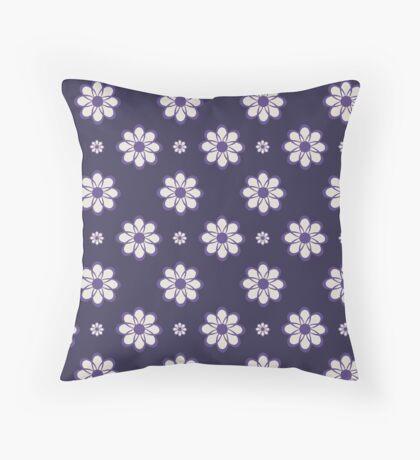Ultra Violet on Dark Purple Geometrical Flowers Retro Pattern Throw Pillow