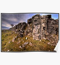 Rocky outcrop, tree & Penyghent Poster