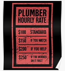 Hourly Rate | Funny Plumber Gift Poster
