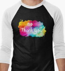 No Thank You Rainbow Watercolor Men's Baseball ¾ T-Shirt