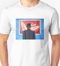 Man with bowler in front of nude T-Shirt