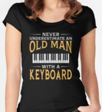 Never Underestimate An Old Man With A Keyboard Women's Fitted Scoop T-Shirt