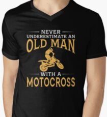 Never Underestimate An Old Man With A Motocross Men's V-Neck T-Shirt