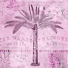 Retro Palm Tree Collage Art In Soft Pink by artsandsoul