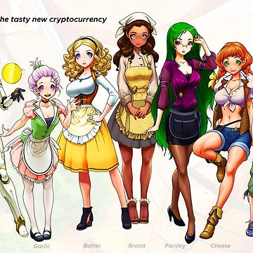 Garlicoin Mascot Girls - Garlicoin, Garlic, Butter, Bread, Parsley, Cheese, and Garlic Bread by ghostfire