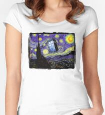 The Tardis in the Starry Night Women's Fitted Scoop T-Shirt