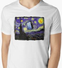The Tardis in the Starry Night Mens V-Neck T-Shirt