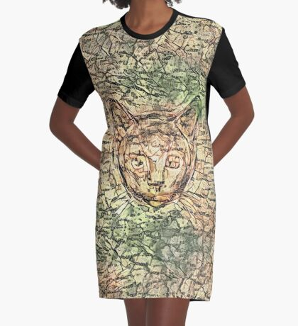 SPY cat HIDIN IN teh map Graphic T-Shirt Dress