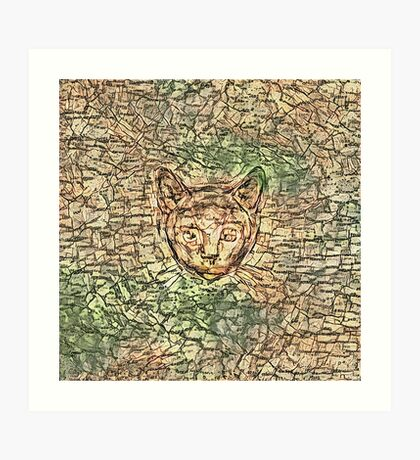 SPY cat HIDIN IN teh map Art Print