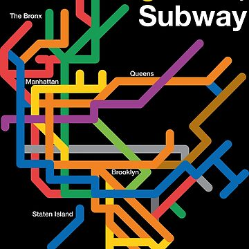 NYC Subway diagram, black background by shbubble1