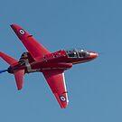 Red Arrow Hawk banking turn by Gary Eason