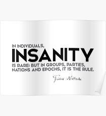 in individuals, insanity is rare - nietzsche Poster