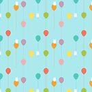 «Conejitos mullidos y el patrón de globos arcoiris» de EuGeniaArt