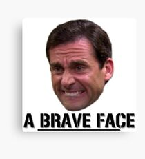 Michael Scott Funny - Brave Face - The Office - Sticker Canvas Print