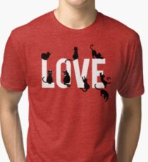 Cute and funny hand drawn typography love design with cats  Tri-blend T-Shirt