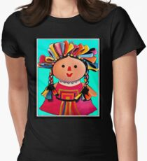 Mexican Maria Doll Turquoise Women's Fitted T-Shirt