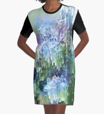 Falling Nature Glitch - Blue, Green and Ultra Violet Graphic T-Shirt Dress