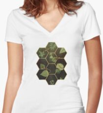 Bees in Space Women's Fitted V-Neck T-Shirt