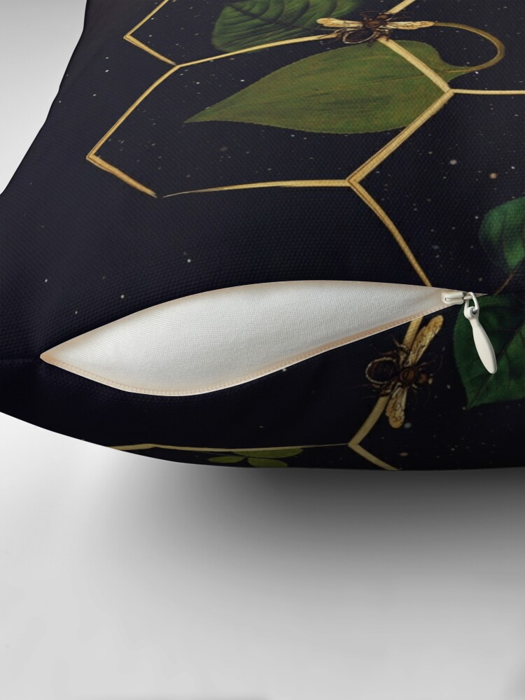 Alternate view of Bees in Space Throw Pillow