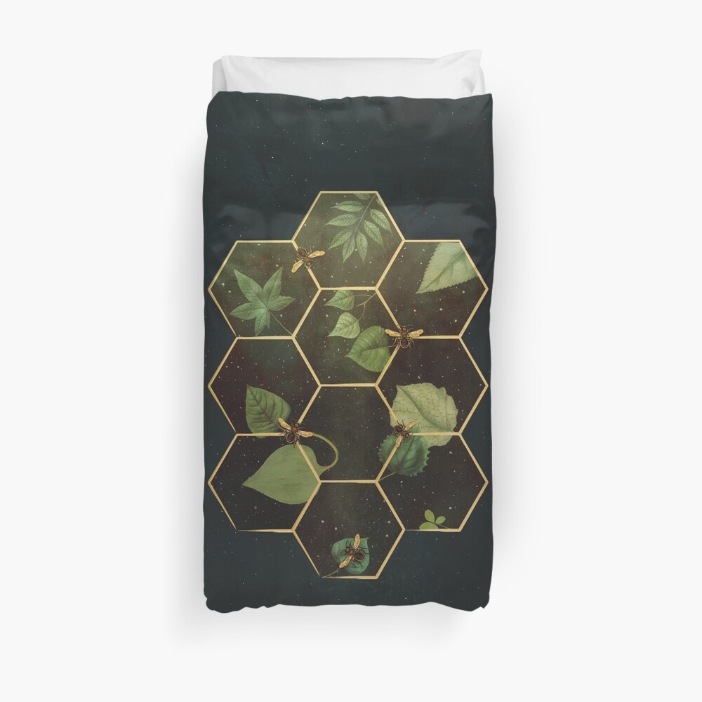 Bees in Space Duvet Cover