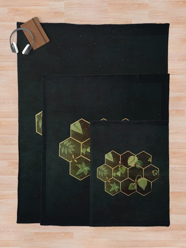 Alternate view of Bees in Space Throw Blanket