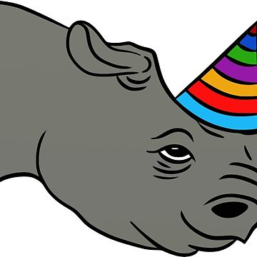 Rhino with party hat by blommie