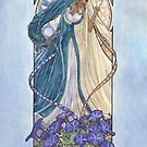 Lady of September with Sapphire and Morning Glories Celestial Moon and Sun Goddess Mucha Inspired Birthstone Series by angelasasser