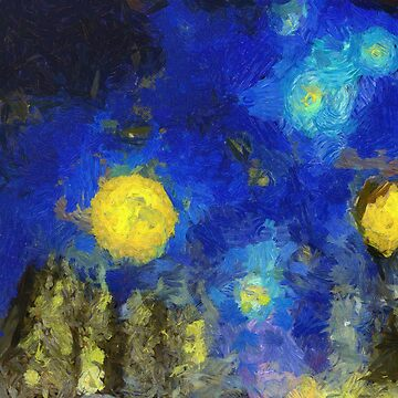 Trees in starry sky Van Gogh Monet Cézanne by Ariela-Alez
