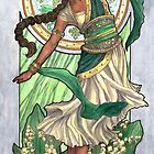Lady of May with Lily of the Valley and Emerald Dancing Goddess Maiden Mucha Inspired Birthstone Series by angelasasser
