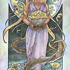 Lady of April with Bonsai and Daisies Mucha Inspired Birthstone Series by angelasasser