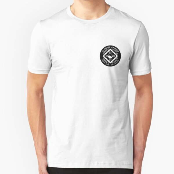 Guided Chaos Trademarked white on black circle swag! Slim Fit T-Shirt