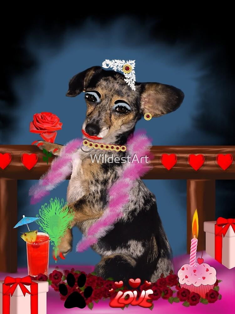 The Floozie Valentine Puppy by WildestArt