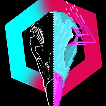 New Retro Wave Skull - Hawk by explosivebarrel