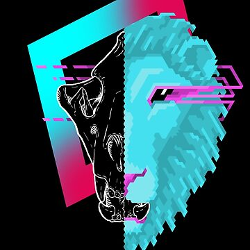 New Retro Wave Skull - Lion by explosivebarrel