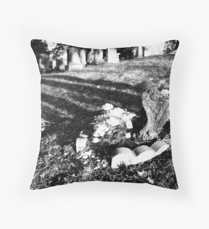 Cemetary Black&White Throw Pillow