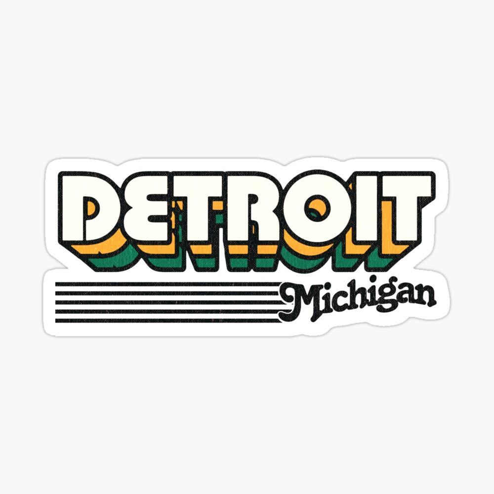 Detroit, Michigan   Retro Stripes Sticker