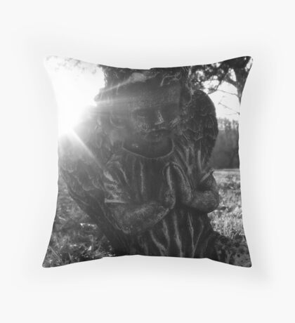 Cemetary Angel Black&White Throw Pillow