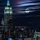 Blue Moon Rising Over Midtown Manhattan by Chris Lord