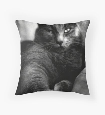 Cat Black&White Throw Pillow