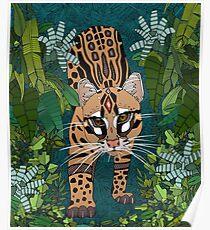ocelot jungle teal Poster