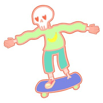 wiggly armed, six fingered, sweater wearing, heart-eyes skeleton riding a skateboard  by roboat