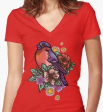 Bullfinch Floral Pattern Women's Fitted V-Neck T-Shirt