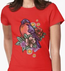 Bullfinch Floral Pattern Fitted T-Shirt