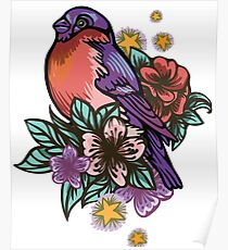 Bullfinch Floral Pattern Poster