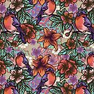 Bullfinch Floral Pattern by Anna Oparina