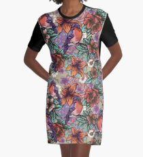 Bullfinch Floral Pattern Graphic T-Shirt Dress