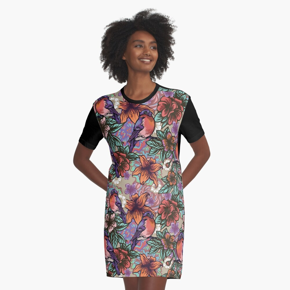 Bullfinch Floral Pattern Graphic T-Shirt Dress Front