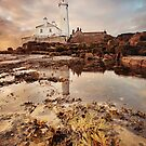 St Marys lighthouse dawn by Angi Wallace