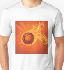 Fire Basketball Ball Background Unisex T-Shirt