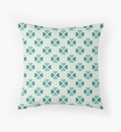 Robins Egg Blue Heartshaped Clover Retro Pattern Throw Pillow